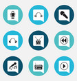 set of 9 editable music icons includes symbols vector image