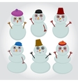Set of cute cartoon snowmen for winter design vector image