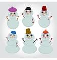 Set of cute cartoon snowmen for winter design vector image vector image