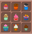 set of cute cupcakes and muffins chocolate vector image vector image