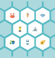 set of season icons flat style symbols with shell vector image vector image