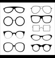 set of silhouettes sunglasses vector image vector image