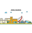 spain valencia city skyline architecture vector image vector image