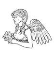 stylized angel woman vector image