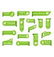 vegan green label set organic and raw vegetables vector image