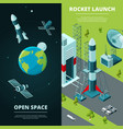vertical banners with pictures of space travel and vector image
