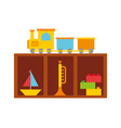 wooden drawer with toys vector image