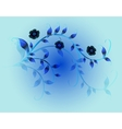 Wavy pattern of beautiful blue flowers on a blue vector image