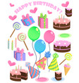 set of birthday cartoon party elements vector image