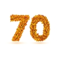 70 number of autumn fall bright orange leaves vector image