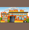 a building on fire vector image vector image