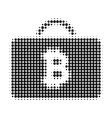 bitcoin case halftone dotted icon vector image
