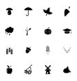 black autumn icons set vector image vector image