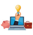 businessman hand with big idea on laptop screen vector image vector image