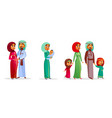 cartoon arab family characters set vector image