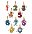 cartoon numbers characters with birthday candles vector image vector image