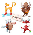cat bull cockroach devil - set animals vector image vector image