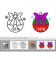 christmas ball with bow tree decoration line icon vector image vector image