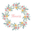circle frame flowers on white background vector image