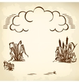 clouds and reeds brown vector image vector image