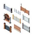 construction fences garden door gate metals or vector image