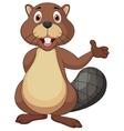 Cute beaver cartoon waving hand vector image vector image