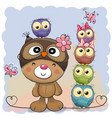 cute cartoon teddy bear and five owls vector image vector image