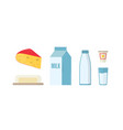 dairy products flat set milk vector image