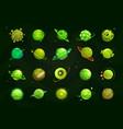 different cartoon green alien planets set funny vector image vector image