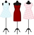Different dresses on a mannequin vector image vector image
