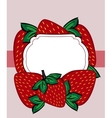 drawn strawberry berry label vector image
