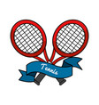 emblem tennis game icon vector image vector image