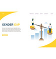 gender gap website landing page design vector image vector image