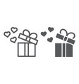 gift line and glyph icon love and package gift vector image vector image