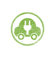Green ecological electric car sign with hand drawn vector image