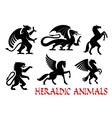 Heraldic mythical animals emblems vector image vector image