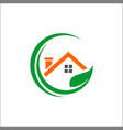 house with leaf ecology for icon home logo and vector image