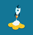 isometric rocket launch concept creating vector image vector image