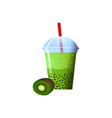 kiwi smoothies in a cup superfoods and health or vector image vector image