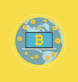 laptop screen with the bitcoin sign on globe vector image vector image
