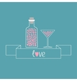 Martini glass and bottle with hearts inside Ribbon vector image vector image