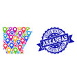 mosaic map of arkansas state with map pins and vector image