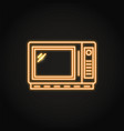 neon microwave oven icon in line style vector image