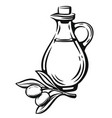 olive with leaves and bottle vector image
