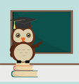 owl on book stack at classroom vector image