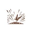 Plover Landing Island Woodcut vector image vector image