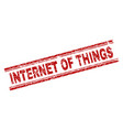 scratched textured internet of things stamp seal vector image