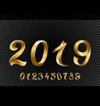 set of gold colored metal chrome numbers 1 2 3 4 vector image
