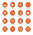 set of icon in orange circle vector image vector image