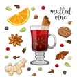 set on white with mulled wine vector image vector image